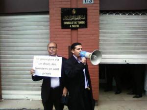 في فرنسا سنة 2010: أمام القنصلية التونسية للاحتجاج على السلطة القمعية